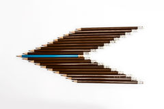 Wooden pencil arrange as head of arrow with one different royalty free stock photos