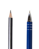 A wooden pencil and ballpoint pen Stock Photo