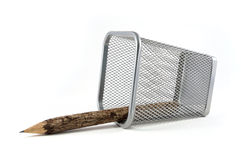 Wooden pencil in basket Royalty Free Stock Photography
