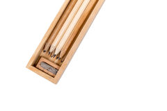 Wooden pencil box,Inside the box is a lot of pencils and sharpen Stock Images