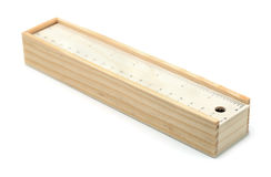 Wooden pencil box royalty free stock photography