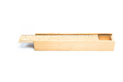 Wooden pencil box Stock Photo