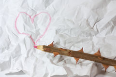 Wooden pencil with heart royalty free stock photography