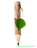 Wooden pencil with leaf Stock Images