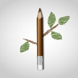 Wooden Pencil With Leaf. Royalty Free Stock Image