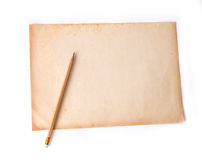 Wooden pencil on the old dirt paper Royalty Free Stock Photo