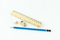 Wooden pencil sharpener and ruler Royalty Free Stock Photography
