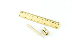 Wooden pencil sharpener and ruler Royalty Free Stock Photos