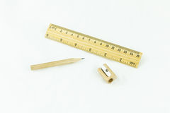 Wooden pencil sharpener and ruler Stock Images