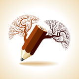 Wooden pencil with tree Stock Photos