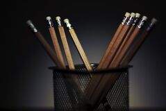 Wooden pencils in pencil holder Stock Photography
