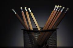 Wooden pencils in pencil holder