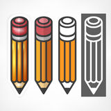 Wooden pencils stylized on white Stock Images