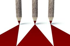 Wooden pencils with tree trunk, background Royalty Free Stock Images
