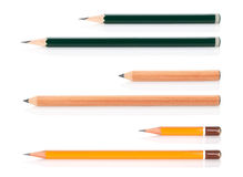 Wooden pencils various length Stock Photography