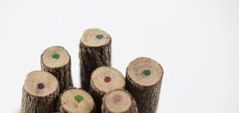 Wooden pencils on white background. On the white table stock photography