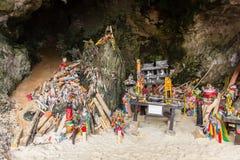 Wooden penis shrine in Princess cave Phra Nang Shrine Temple Krabi. Travel landmark  Thailand Royalty Free Stock Photo