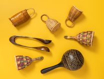 Wooden percussion instruments on yellow background stock image
