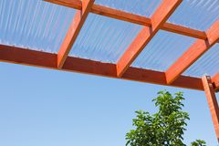 Wooden Pergola Against Blue Sky Royalty Free Stock Images