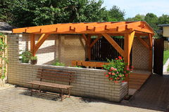 Wooden pergola Royalty Free Stock Photography