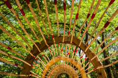 Wooden pergola in french garden Royalty Free Stock Image