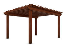 Wooden pergola on the white Royalty Free Stock Photos