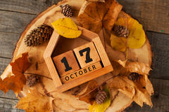Wooden perpetual calendar. Handmade wooden perpetual calendar in a form of a house royalty free stock photos