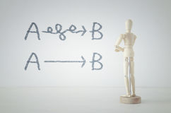 Wooden person standing with his back in front of textured background with lines pointing the way way from a to b Stock Images