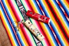 Wooden peruvian flute Stock Photos