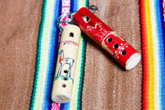 Wooden peruvian flute Stock Photo