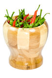 Wooden pestle with a strong chilli Stock Photography