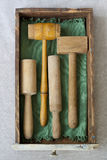Wooden pestles and mallets. Antique wooden pestles and mallets collection in a kitchen drawer Royalty Free Stock Photography