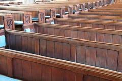 Wooden Pew Seats. Stock Photos