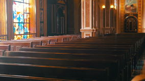 Wooden Pews in a Christian Church stock video