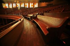 Wooden Pews in Concert Stock Image
