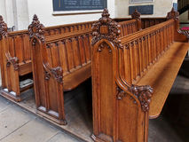 Wooden pews, Oxford Royalty Free Stock Images