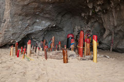 Wooden phalluses in Princess cave. Railay. Thailand Royalty Free Stock Image