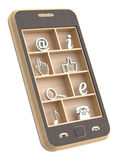 Wooden phone concept. With wooden shelf  over white background Royalty Free Stock Photo