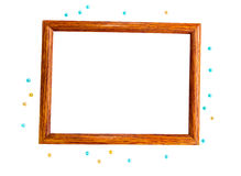 Wooden photo frame and beads Stock Photos