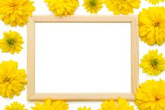 Wooden photo frame decorated with yellow stock photo