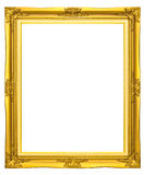 Wooden photo frame/ gold color Royalty Free Stock Photography