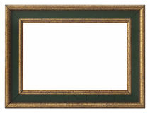 Wooden photo frame golden Stock Photos