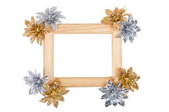 Wooden photo frame with golden and silver flowers Royalty Free Stock Photography