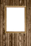 Wooden photo frame hanging wood wall Stock Photo