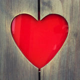 Wooden photo frame with heart shaped Stock Image