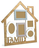Wooden photo frame House with text Family. Photo Frame House consists of five frames and the text Family stock illustration