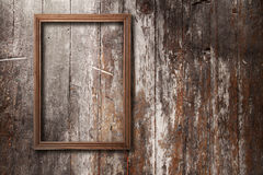 Empty Frames And Watch On Wooden Wall Stock Photos Image