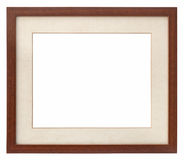 Wooden photo frame passepartout Stock Photos