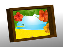 Wooden photo frame with summer picture Royalty Free Stock Photo