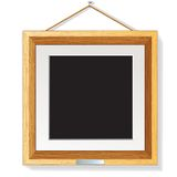 Wooden Photo Frame on the Wall Vector Illustration Royalty Free Stock Photography